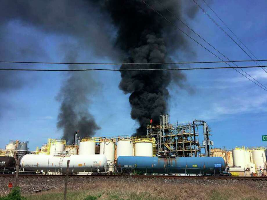 This photo taken by the Harris County Fire Marshal's Office shows the KMCO Chemical plant Tuesday, April 2, 2019, in Crosby, Texas. Authorities say one person is confirmed dead after a fire broke out at the chemical plant Tuesday near Houston. Harris County Sheriff Ed Gonzalez says two other people were life-flighted. Gonzalez says preliminary information shows that the chemical isobutylene initially started the fire, and is still burning. (Harris County Fire Marshal's Office via AP) Photo: Associated Press / Harris County Fire Marshal's Office