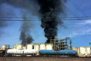 This photo taken by the Harris County Fire Marshal's Office shows the KMCO Chemical plant April 2, 2019, in Crosby, Texas. One person died and several others were injured after a fire broke out at the chemical plant. Preliminary information indicated that the chemical isobutylene initially started the fire.