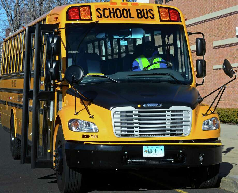 A First Student bus. Photo: Erik Trautmann / Hearst Connecticut Media / Norwalk Hour