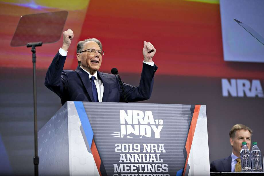 Wayne LaPierre, chief executive officer of the National Rifle Association (NRA), speaks during the NRA annual meeting of members in Indianapolis, Indiana, U.S., on Friday, April 26, 2019. Retired U.S. Marine Corps Lieutenant Colonel Oliver North has announced that he will not serve a second term as the president of the National Rifle Association amid inner turmoil in the gun-rights group. Photographer: Daniel Acker/Bloomberg Photo: Daniel Acker, Bloomberg
