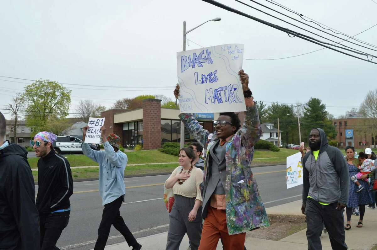 A scene from one of many local protests in which local residents and activists called for Hamden Officer Devin Eaton and Yale Officer Terrance Pollock, involved in the April 16 shooting of Stephanie Washington in New Haven, to be fired.
