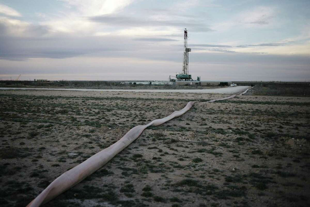 FILE -- A drilling platform outside of Midland, Texas, Feb. 20, 2019. Occidental Petroleum unveiled an audacious $38 billion takeover bid for Anadarko Petroleum on April 24, challenging Chevron - a company four times its size - in a battle for dominance of the biggest and most productive oil field in the United States. (Brandon Thibodeaux/The New York Times)