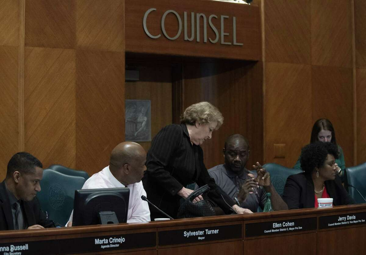 """Mayor Pro-Tem Ellen Cohen (center) walks out before an appearance by Houston Fire Department Chief Sam Pena at a Houston City Council ethics committee meeting Monday afternoon at City Hall after stating that she believes the panel had """"nothing to do with ethics"""" before walking out, Monday, April 29, 2019."""