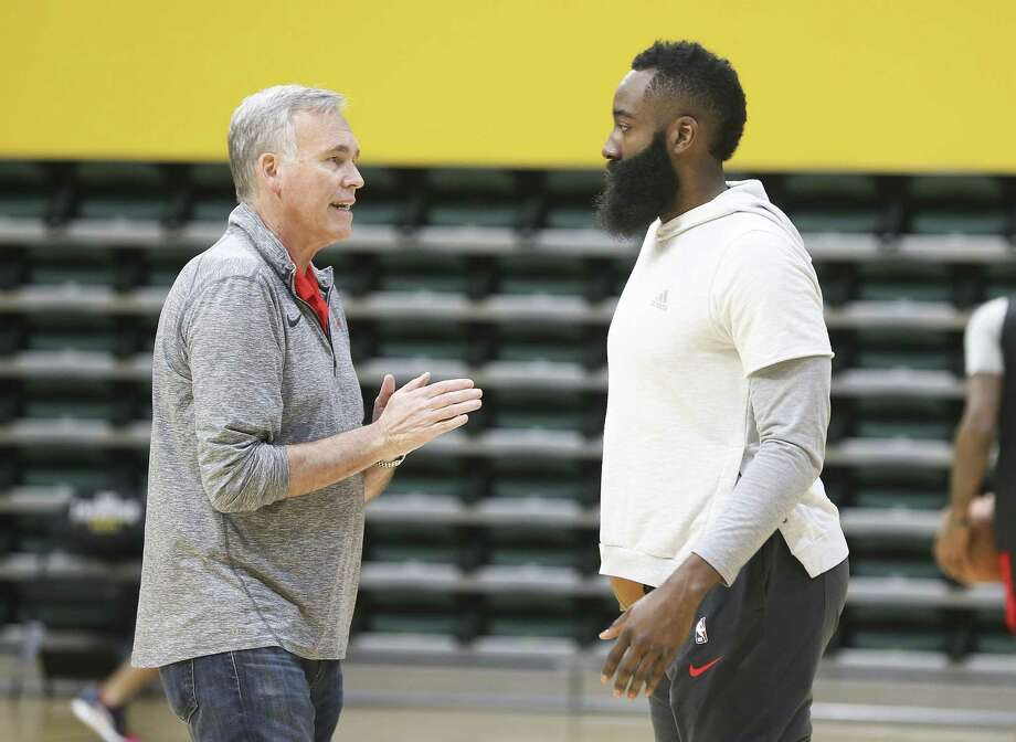 Rockets coach Mike D'Antoni and James Harden aren't complaining about playing exhibition games in Hawaii en route to Japan. Photo: Elizabeth Conley, Houston Chronicle / Staff Photographer / © 2018 Houston Chronicle