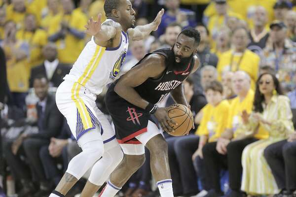 e49a7fc07f54 Andre Iguodala helps Warriors tussle with James Harden - SFChronicle.com
