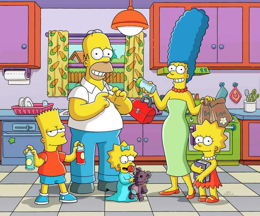 This image released by Fox shows animated characters, from left, Bart, Homer, Maggie, Marge and Lisa from