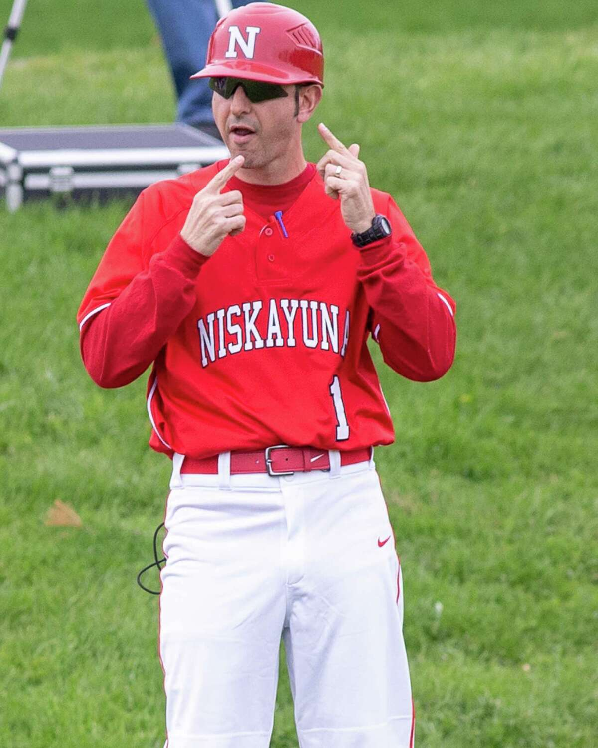 Niskayuna baseball coach Chris Bianchi, shown in 2019, said he and his players were glad to be back on the field Thursday. (James Franco/Times Union archive)