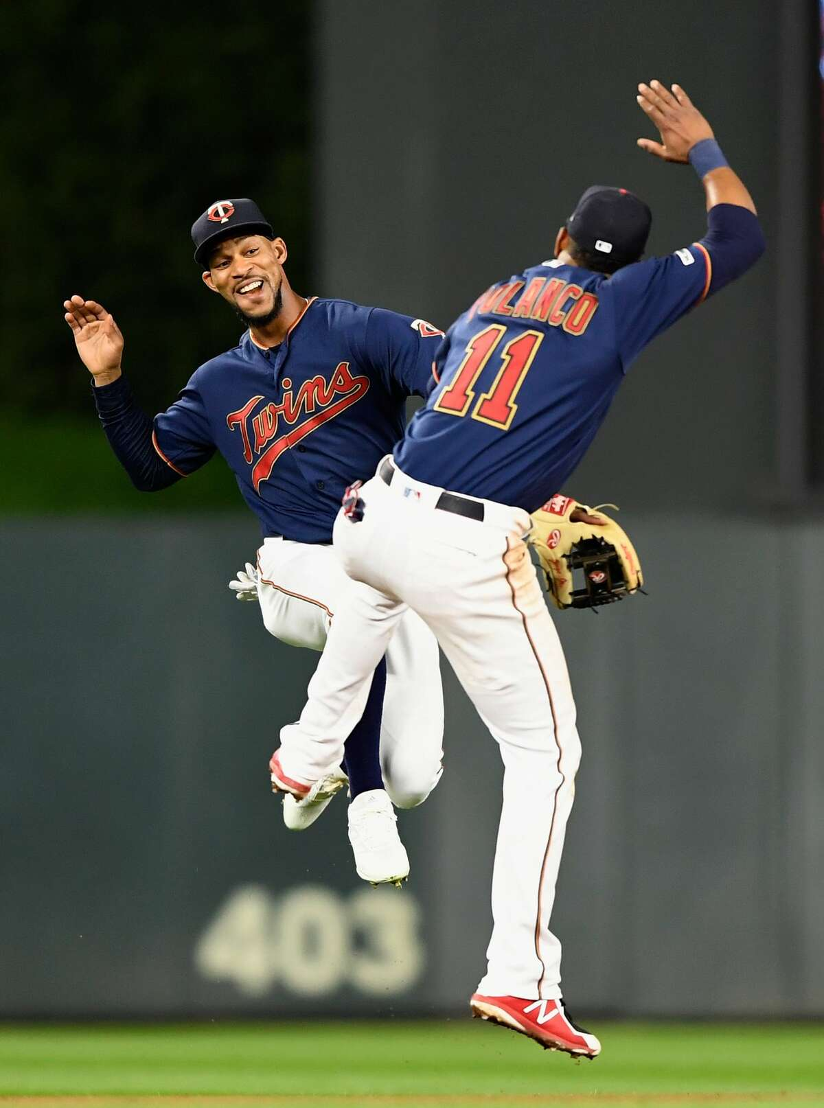 MINNEAPOLIS, MN - APRIL 29: Byron Buxton #25 and Jorge Polanco #11 of the Minnesota Twins celebrate defeating the Houston Astros after the game on April 29, 2019 at Target Field in Minneapolis, Minnesota. The Twins defeated the Astros 1-0. (Photo by Hannah Foslien/Getty Images)