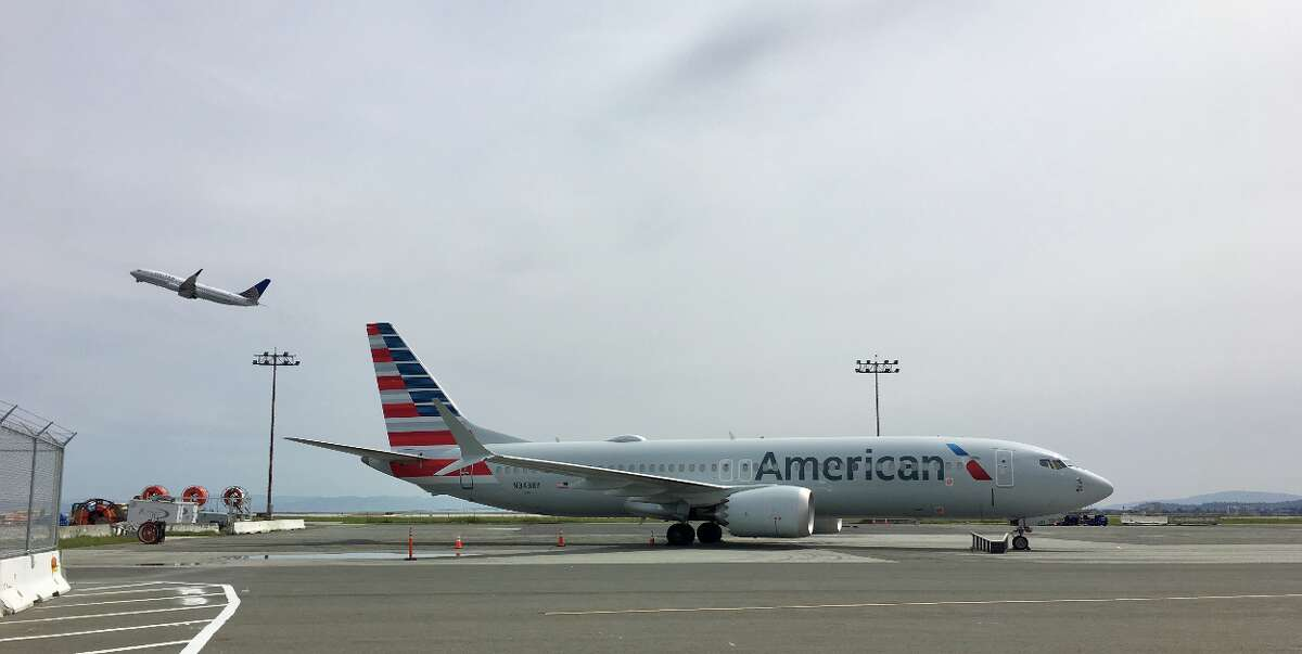 """American Airlines is storing one of its grounded Boeing MAX 8 jets at its """"super-bay"""" at San Francisco International"""