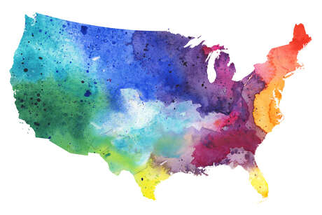 A highly detailed map of the USA with a multicoloured, rainbow hand painted watercolor texture. Map is isolated on a white background. Raster illustration.