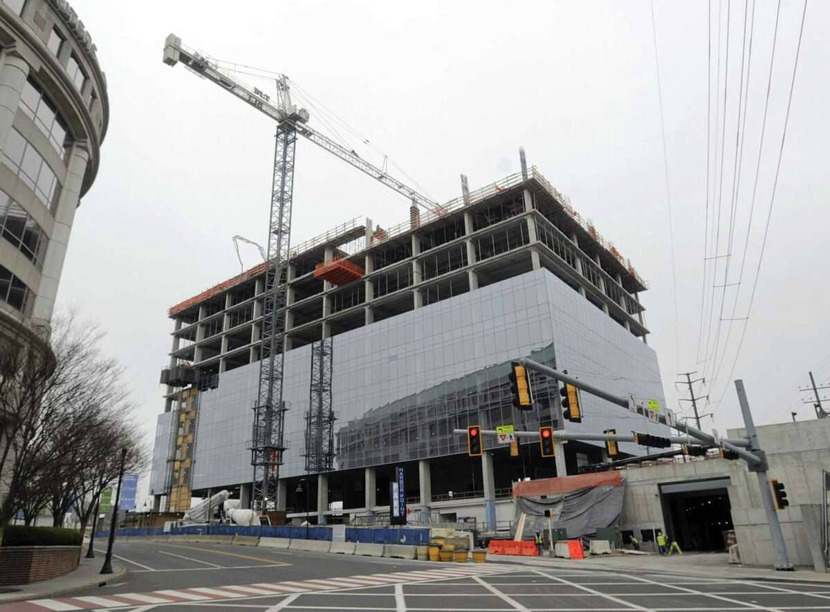 Charter Communications' new headquarters is under construction at 406 Washington Blvd., next to the downtown Metro-North station in Stamford, Conn.