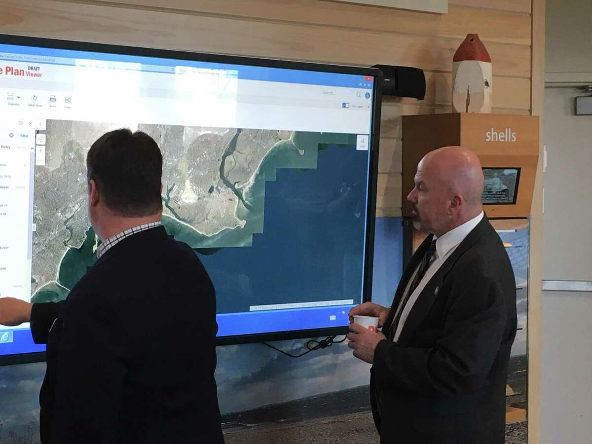 State Rep. Joe Gresko, D-Stratford, explores his district on a map created as part of the Blue Plan, which aims to protect the Long Island Sound by creating an inventory of its resources and uses.