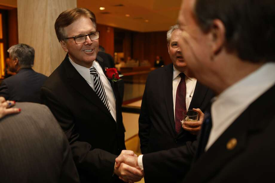 Texas Lieutenant Governor Dan Patrick shakes hands with supporters during the Permian Basin Petroleum Association's Top Hand award banquet honoring S. Javaid Anwar, Jan. 17, 2018, at the Petroleum Club. James Durbin/Reporter-Telegram / © 2019 Midland Reporter-Telegram. All Rights Reserved.