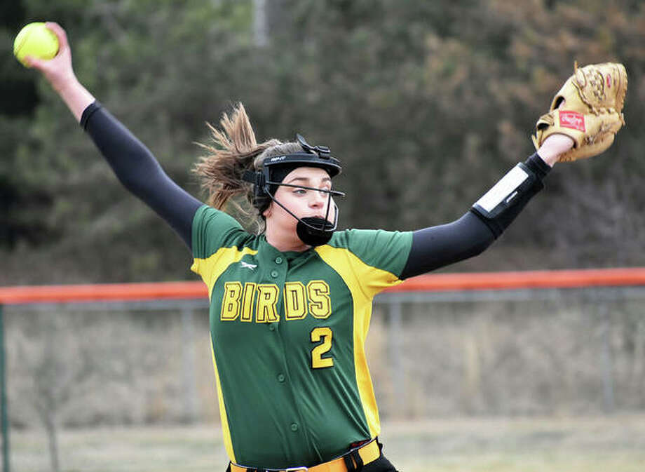 Southwestern's Sydney Baumgartner, shown pitching during a win at Edwardsville on March 20, went the distance Monday in the 18-1 Piasa Birds' SCC victory over Pana in Piasa. Photo: Matt Kamp / Hearst Illinois
