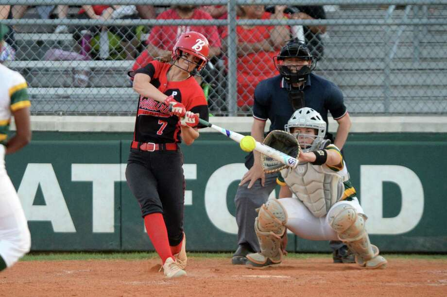 Cole Johnson (7) of Bellaire drives in two runs with a single during the second inning of a Class 6A Region III bi-district playoff softball game between the Bellaire Cardinals and the Stratford Spartans on Thursday, April 25, at Stratford High School, Houston, TX. Photo: Craig Moseley, Houston Chronicle / Staff Photographer / ©2019 Houston Chronicle