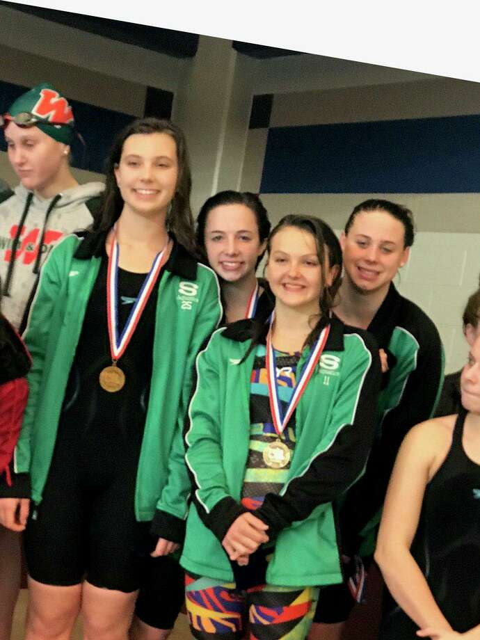 The Stratford girls 200-yard medley relay of Emma Venghaus, Kara Moss, Emma Stephenson and Kaitlyn White broke the school record and reached the state final in 2019. Venghaus returns to state in the backstroke. Photo: Stratford High School / Stratford High School