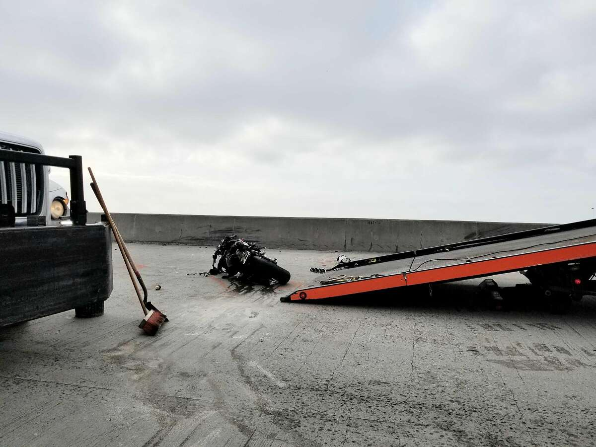 A motorcycle was involved in an accident near the Fremont St. offramp on the Bay Bridge in San Francisco on Tuesday, April 30, 2019.
