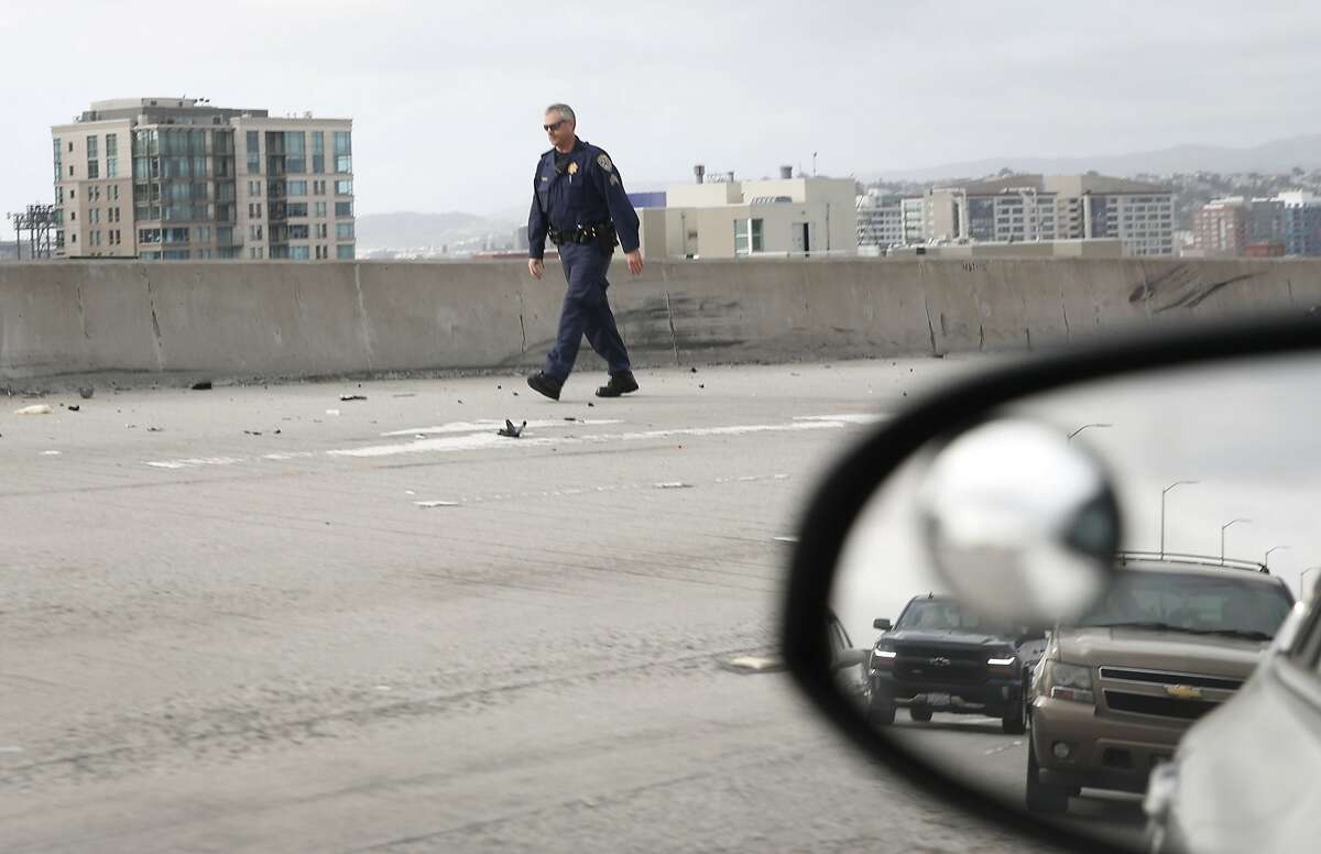 Westbound traffic on the Bay Bridge slowed to a crawl after three lanes were closed while Highway Patrol officers investigate a motorcycle accident in San Francisco, Calif. on Tuesday, April 30, 2019. It took some commuters over an hour to cross the bridge from the East Bay.