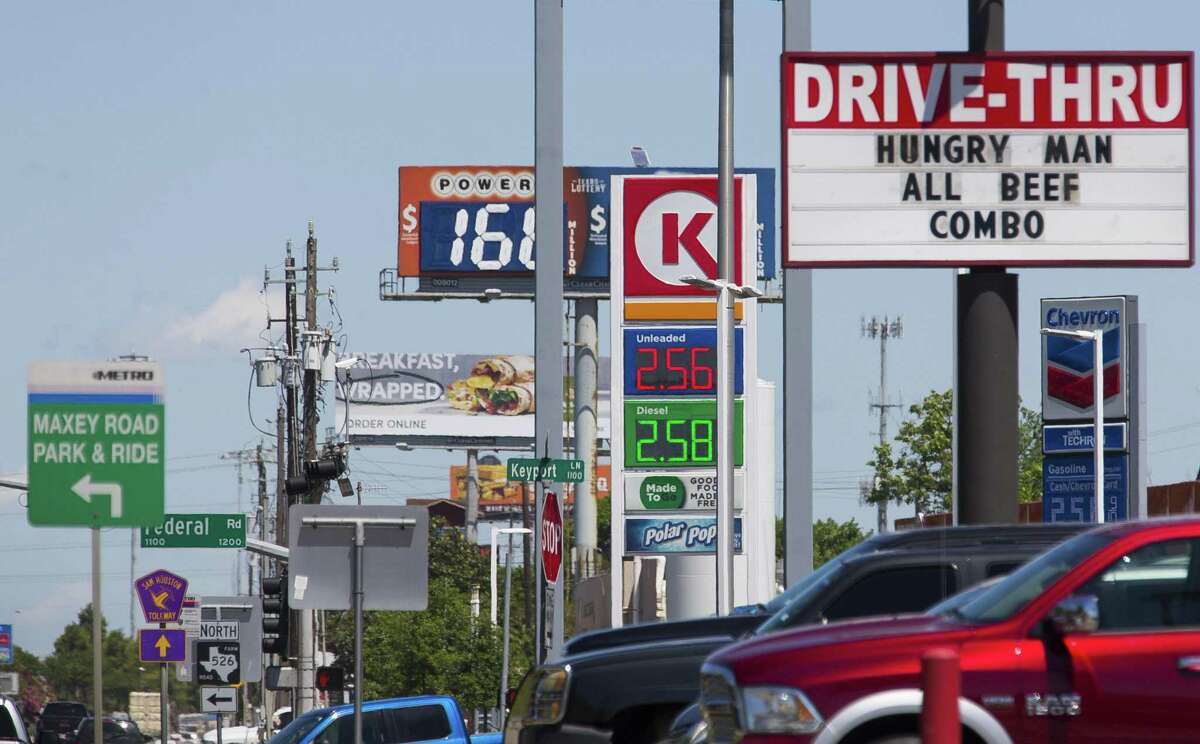 Gas is for sale along Interstate 45 South in Houston, Thursday, April 25, 2019. NEXT: See gasoline prices in Texas biggest cities.