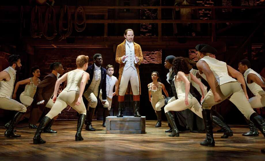 "Joseph Morales, center, plays Alexander Hamilton in the touring production of ""Hamilton."" Keep clicking through the slideshow for a few facts about the musical you should know before seeing it. Photo: Joan Marcus /Joan Marcus / ©2018 Joan Marcus"