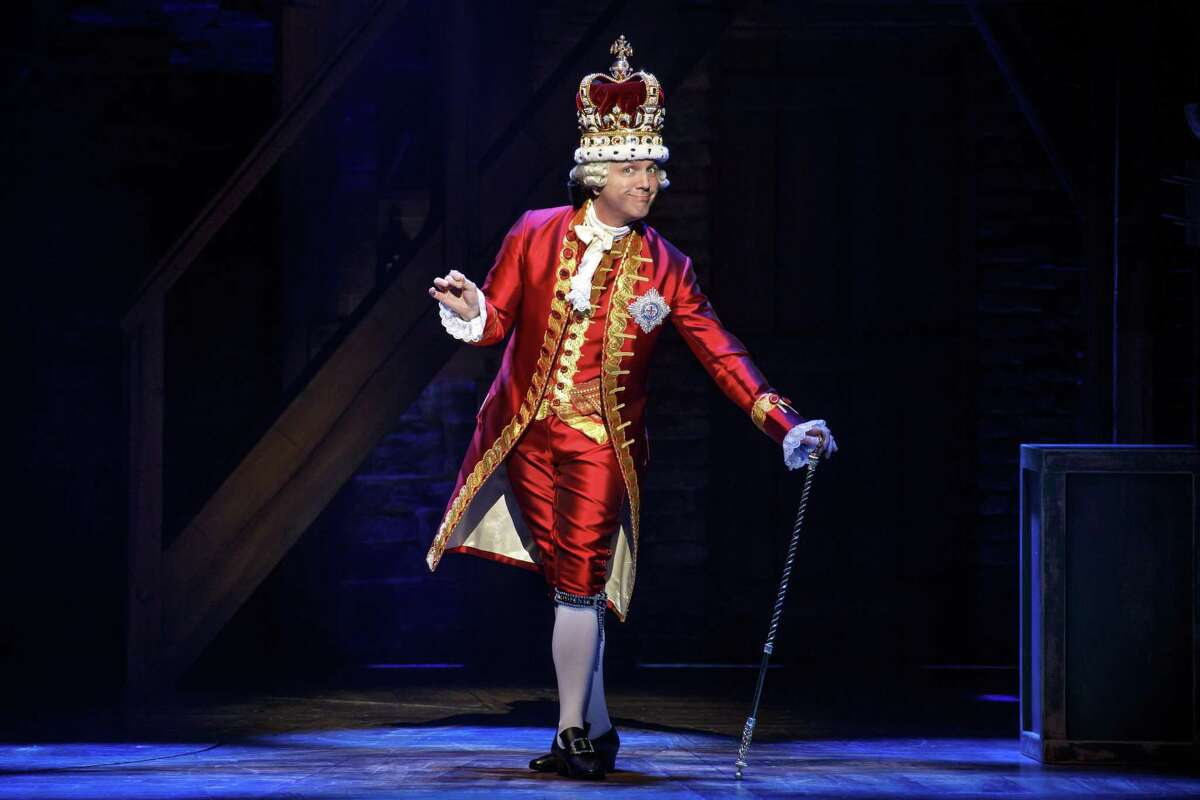 """""""Hamilton"""": The you-gotta-see-it mega-musical currently roosting at the Majestic Theatre is heading into its second weekend. (Jon Patrick Walter, pictured, plays King George in the show.) A few know-before-you-go things to keep in mind: Late arrivals will not be seated until after the opening song, """"Alexander Hamilton,"""" so do what you have to to arrive on time. Security has been stepped up - the theater now has metal detectors - so it might take a little longer to get through the line than at past performances. Large bags will no be permitted. Those who haven't been to the Majestic for a while might be pleasantly surprised by the beefed-up concessions, which can be ordered from your seat through the ATG app or from wait staff patrolling the aisles before the show and during intermission. There also is now a coffee bar on the mezzanine level. 7:30 p.m. Tuesdays-Thursdays, 8 p.m. Fridays, 2 and 8 p.m. Saturdays, and 2 and 8 p.m. Sundays through May 26, Majestic Theatre, 224 E. Houston St. $75.50 to $195.50 at the Majestic box office and ticketmaster.com. Resale tickets at ticketmaster.com start at $224. A total of 40 tickets selling for $10 each will be available for each performance via a digital lottery run through the free """"Hamilton"""" app. Info, majesticempire.com. - Deborah Martin"""