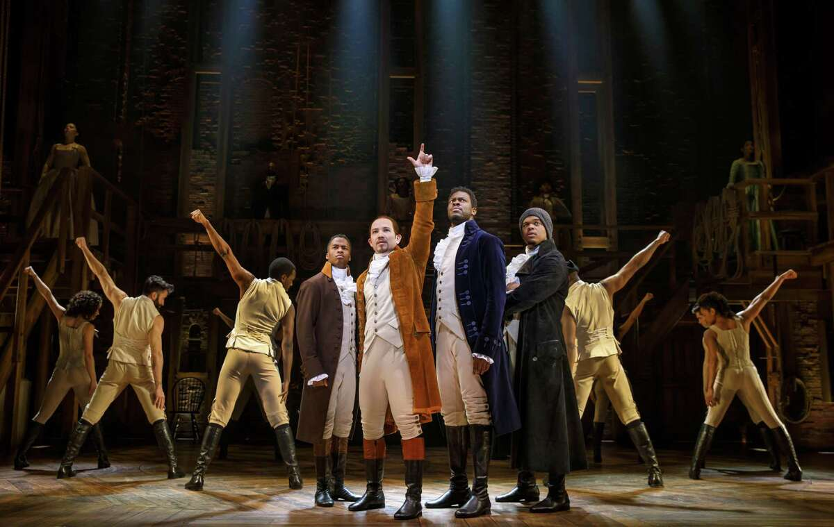 Elijah Malcomb, from left, Joseph Morales, Kyle Scatliffe, Fergie L. Philippe and the company of