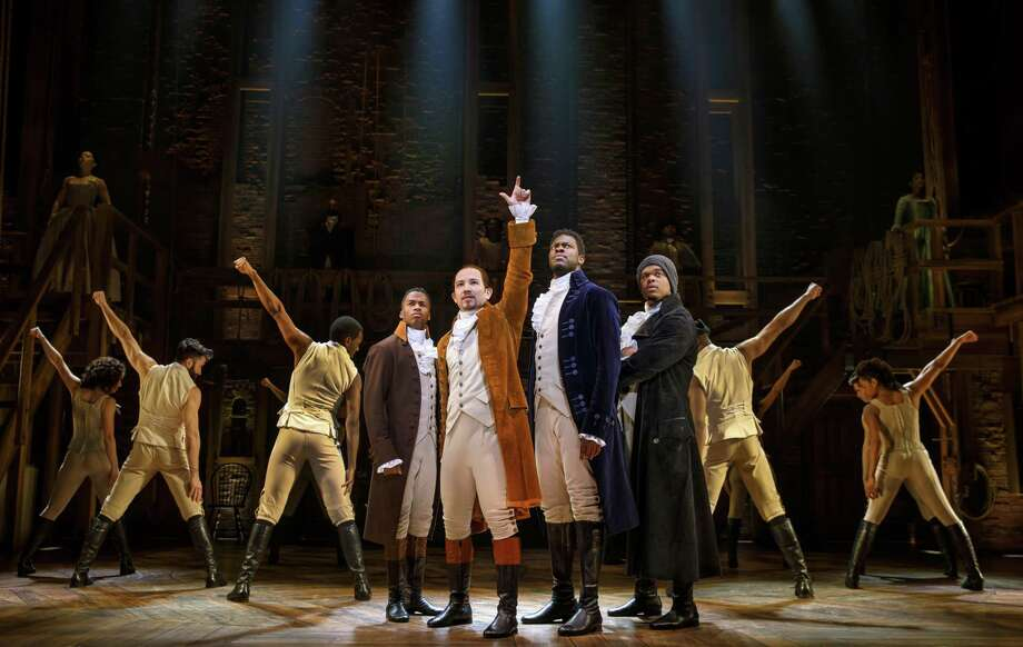 "Elijah Malcomb, from left, Joseph Morales, Kyle Scatliffe, Fergie L. Philippe and the company of ""Hamilton"" pay their first visit to San Antonio with a three-week run at the Majestic Theatre. The arts community in San Antonio must be appreciated and preserved. Photo: Joan Marcus /Joan Marcus / ©2018 Joan Marcus"