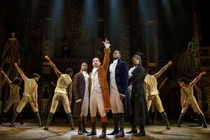 "Elijah Malcomb, from left, Joseph Morales, Kyle Scatliffe, Fergie L. Philippe and the company of ""Hamilton"" pay their first visit to San Antonio with a three-week run at the Majestic Theatre. The arts community in San Antonio must be appreciated and preserved."