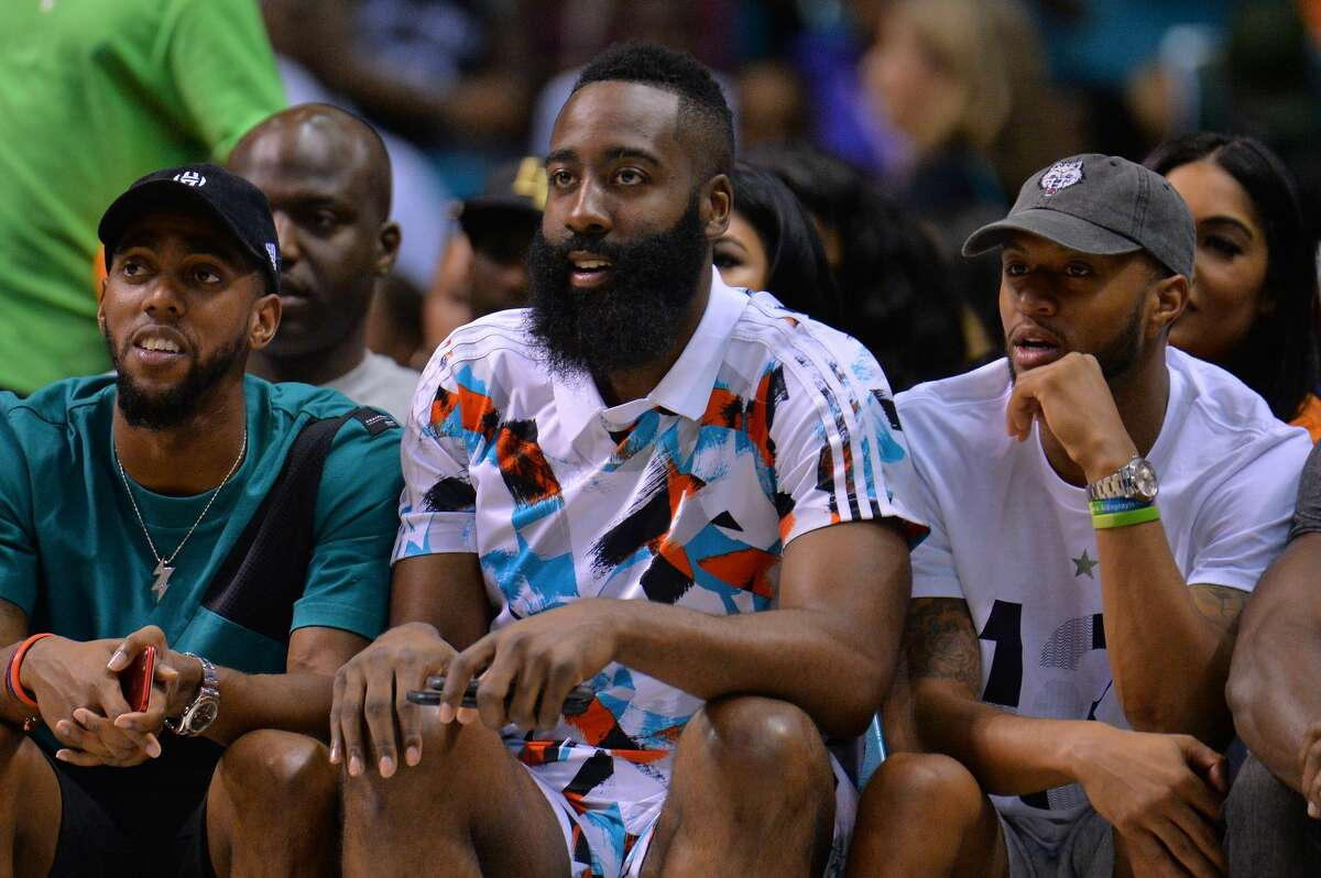 LAS VEGAS, NV - AUGUST 26: NBA player James Harden attends the BIG3 three on three basketball league championship game on August 26, 2017 in Las Vegas, Nevada. (Photo by Sam Wasson/BIG3/Getty Images)