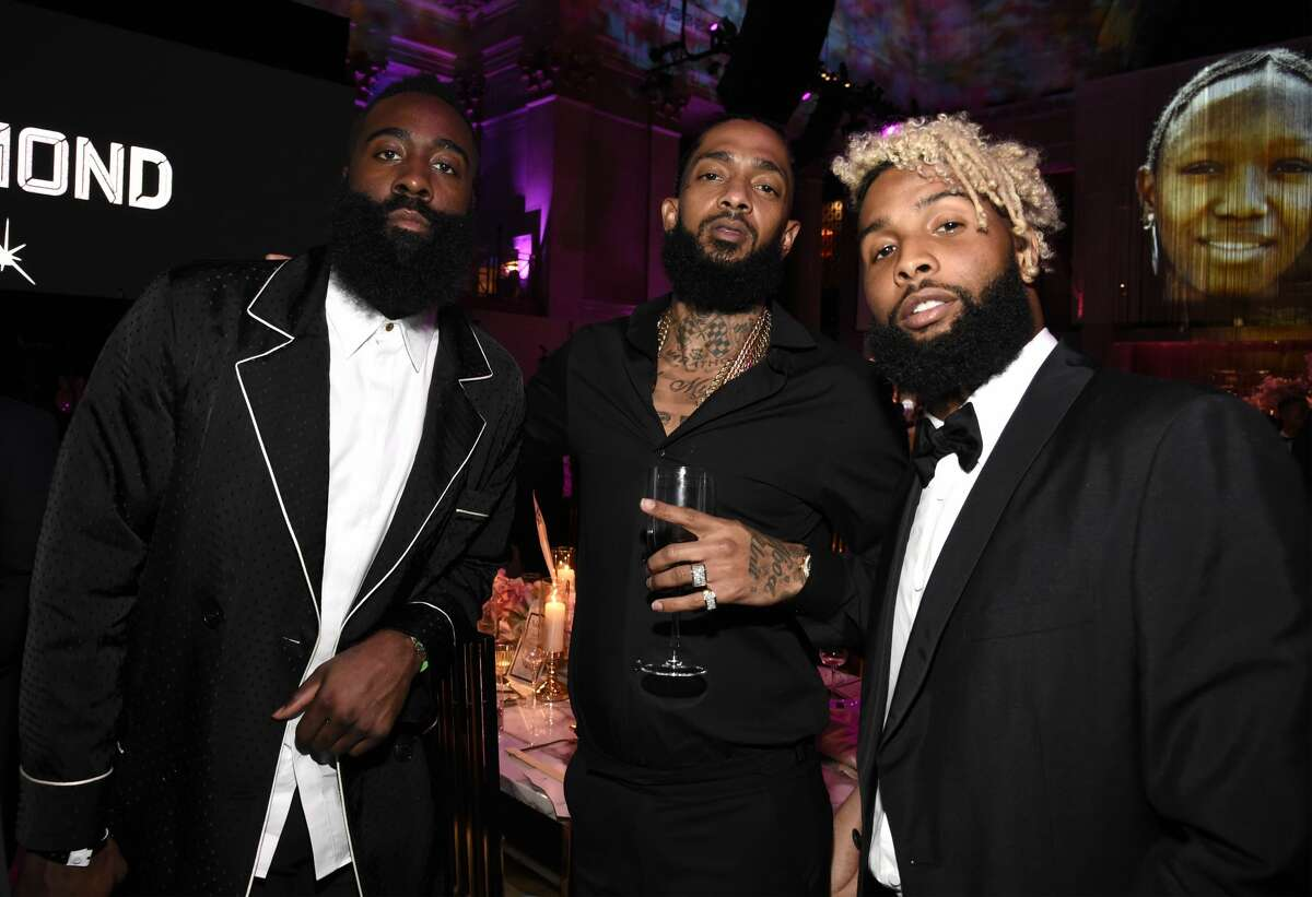 Harden wears Dries van Noten.NEW YORK, NY - SEPTEMBER 13: James Harden, Nipsey Hussle and Odell Beckham Jr. attend Rihanna's 4th Annual Diamond Ball benefitting The Clara Lionel Foundation at Cipriani Wall Street on September 13, 2018 in New York City. (Photo by Kevin Mazur/Getty Images for Diamond Ball)