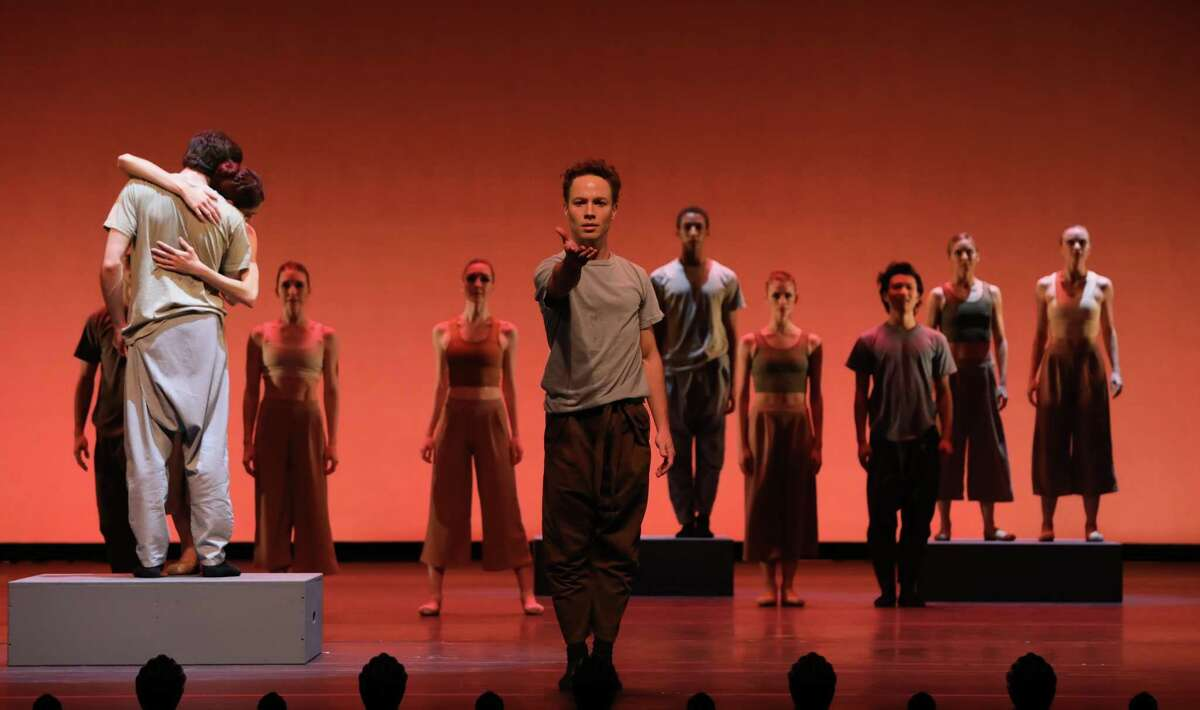 """Oliver Halkowich and other artists of Houston Ballet in Melody Mennite's """"Oh there you are,"""" which premiered last season."""