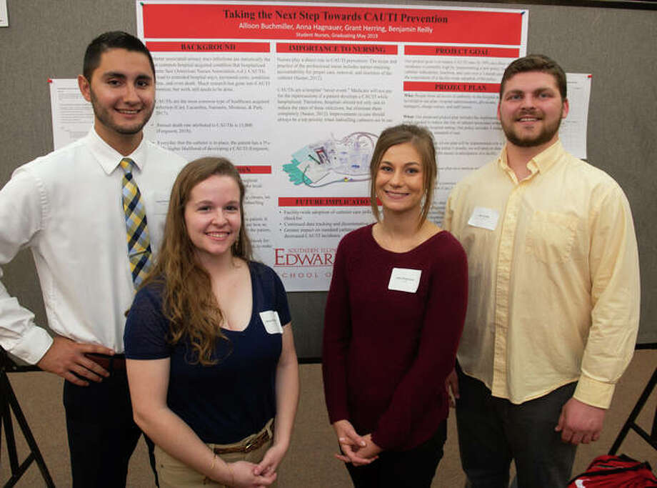 A team of nursing students researched how to reduce the number of hospital-acquired catheter-associated urinary tract infections in patients as their Senior Assignment (L-R) Grant Herring, Allison Buchmiller, Anna Hagnauer and Ben Reilly. Photo: For The Intelligencer