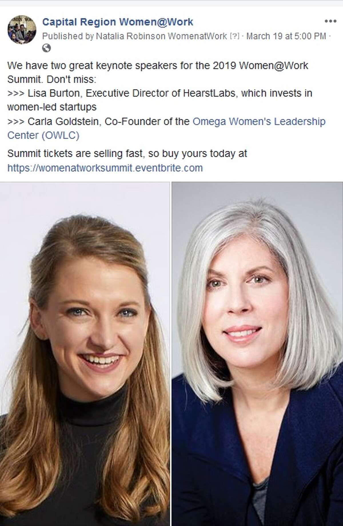 A Facebook post on our official page touting our keynote speakers for the June 5 Summit. (Screenshot)