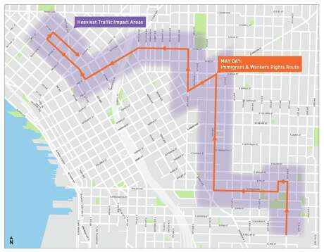 The 20th Annual May Day March for Worker and Immigrant Rights and an afternoon Mariners game will cause delays Wednesday. Photo: Courtesy Of Seattle Department Of Transportation