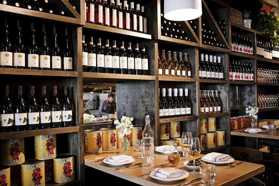 A wall of Italian wines at Che Fico Alimentari in San Francisco. Photo: Che Fico Alimentari