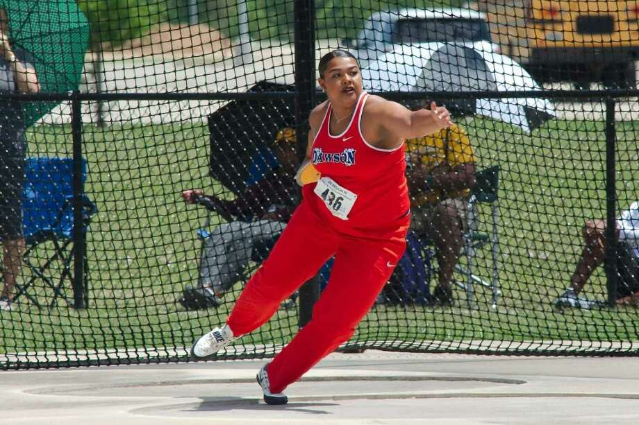 Dawson's Chrystal Herpin is shown at the Region III-6A track and field meet advancing to the state championships in the discus. Herpin threw 154 feet, 10 inches in winning the discus this past Saturday after winning the shot put on Friday. Photo: Kirk Sides