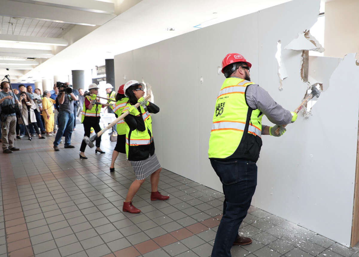 Officials at LAX held a ceremonial start of demolition in Delta's terminal 3.