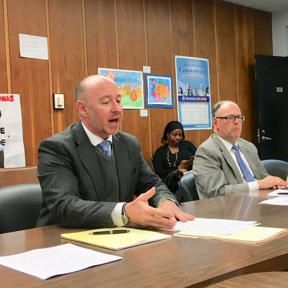 Attorneys Eric Marshall and Floyd Dugas present to city school board on April 29, 2019