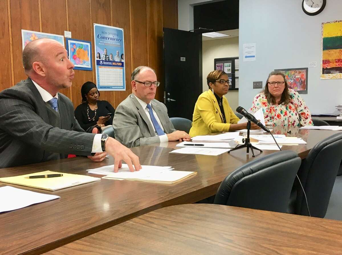 A grievance about teacher lunch and hall duty is heard by Bridgeport Board of Education on April 29, 2019.