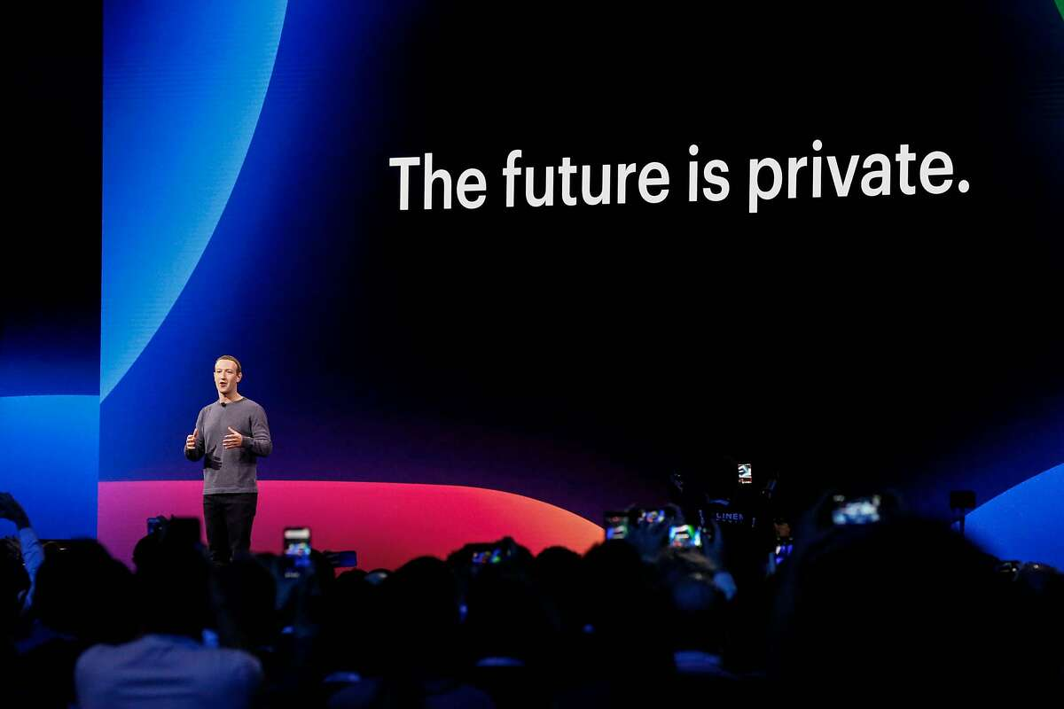 Facebook CEO Mark Zuckerberg delivers the opening keynote introducing new Facebook, Messenger, WhatsApp, and Instagram privacy features at the Facebook F8 Conference at McEnery Convention Center in San Jose on April 30, 2019.
