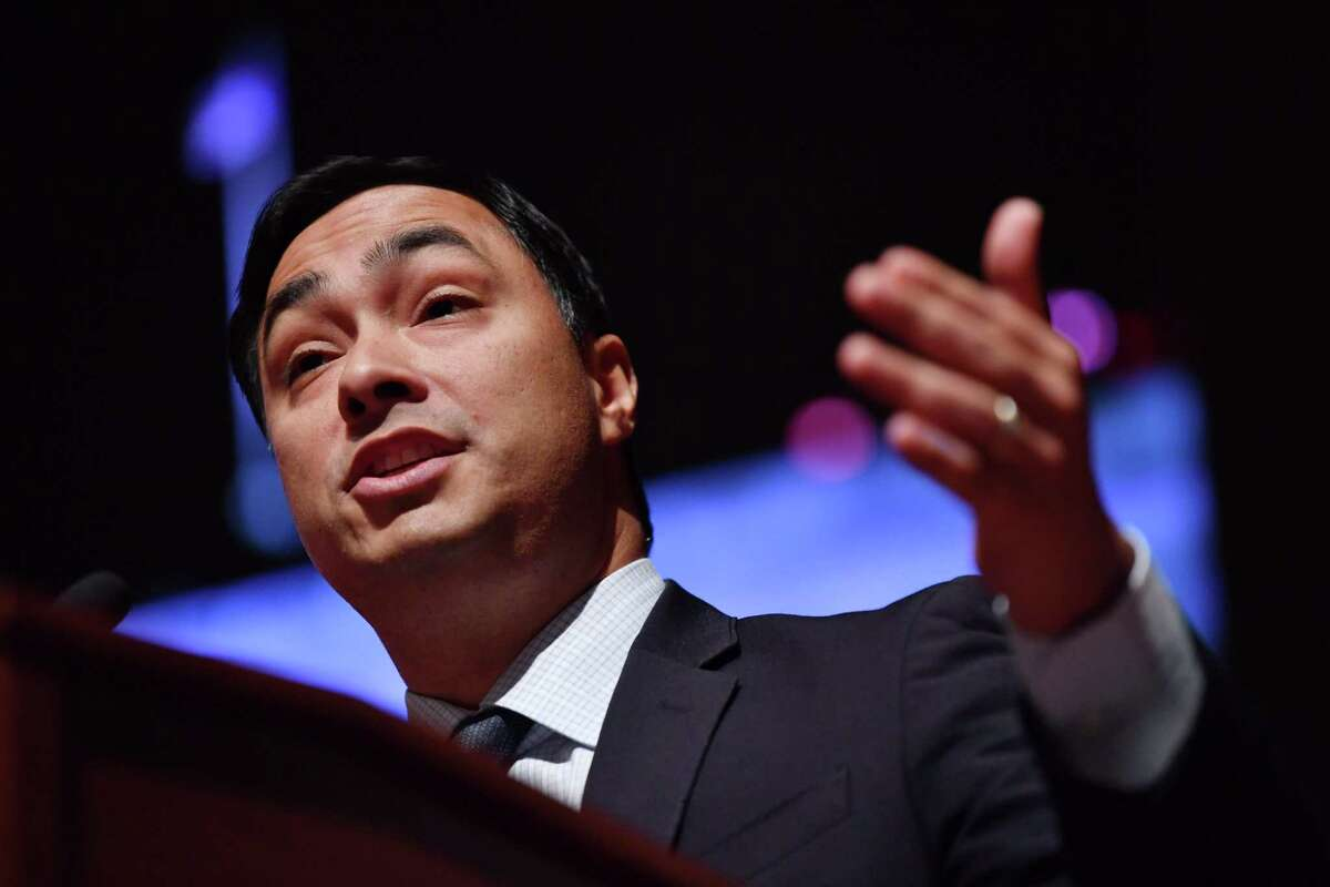 US Representative Joaquin Castro speaks during the swearing-in ceremony and welcome reception for new Hispanic members of the US Congress in Washington, DC, on January 9, 2019. (Photo by Nicholas Kamm / AFP)NICHOLAS KAMM/AFP/Getty Images
