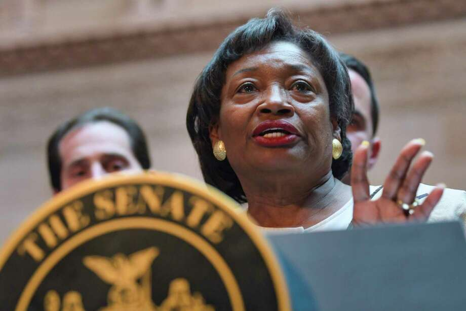 Senate Majority Leader Andrea Stewart-Cousins addresses those gathered for a press event held by the New York State Senate majority at the Capitol on Tuesday, April 30, 2019, in Albany, N.Y. The Senate majority held the event to talk about their legislation to protect New Yorkers against toxic materials, establish a Constitutional right to clean air and water, and to protect the stateÕs environment and natural resources.    (Paul Buckowski/Times Union) Photo: Paul Buckowski, Albany Times Union / (Paul Buckowski/Times Union)