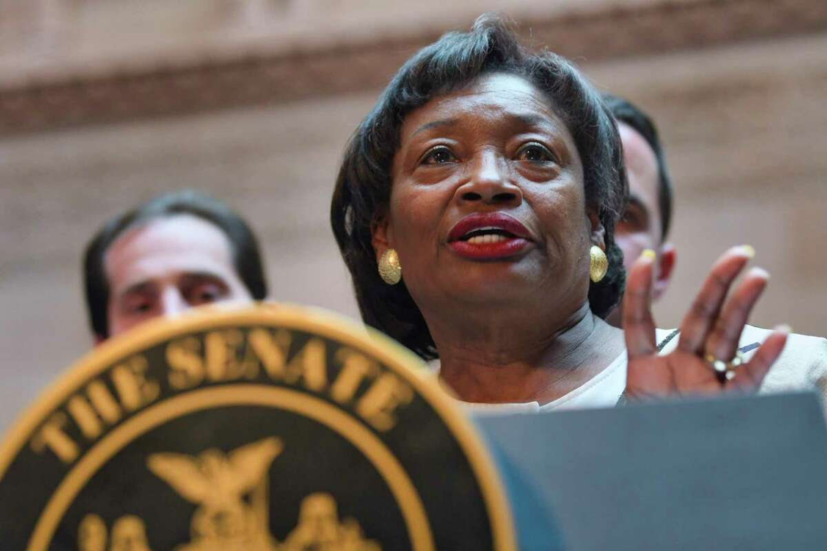 Senate Majority Leader Andrea Stewart-Cousins addresses those gathered for a press event held by the New York State Senate majority at the Capitol on Tuesday, April 30, 2019, in Albany, N.Y. The Senate majority held the event to talk about their legislation to protect New Yorkers against toxic materials, establish a Constitutional right to clean air and water, and to protect the state?•s environment and natural resources. (Paul Buckowski/Times Union)