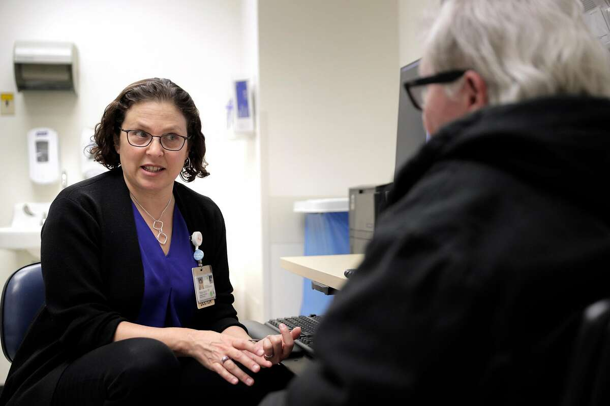 Dr. Margot Kushel, meets with patient Shawn Martin who is homeless and about to turn 75, at Zuckerberg San Francisco General Hospital and Trauma Center in San Francisco, Calif., on Tuesday, February 5, 2019. Kushel is the Professor of Medicine and Director of the UCSF of the Center for Vulnerable Populations, and is leading a UCSF research team that has been studying a group of older homeless people for several years and has found that nearly half of them became homeless for the first time ever when they were over 50 years old. This shows two things. One, the ravishing effect of the current economy on older poor people, which is what they were before becoming homeless. And two, it sends a warning signal to homeless policy planners that the shelters and housing facilities of the near future will have to beef up on medical services for these older homeless people, because after they hit the street they have a lot more ailments than younger street people.