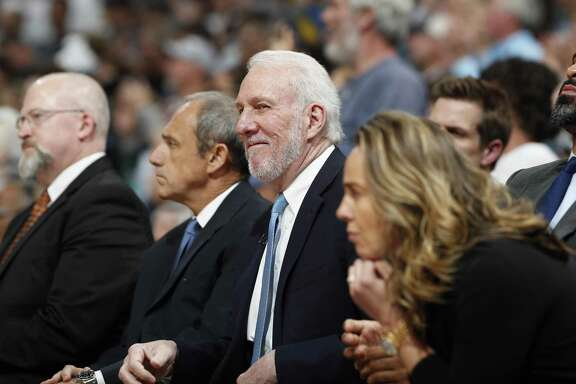 San Antonio Spurs head coach Gregg Popovich in the first half of Game 7 of an NBA basketball first-round playoff series Saturday, April 27, 2019, in Denver. (AP Photo/David Zalubowski)