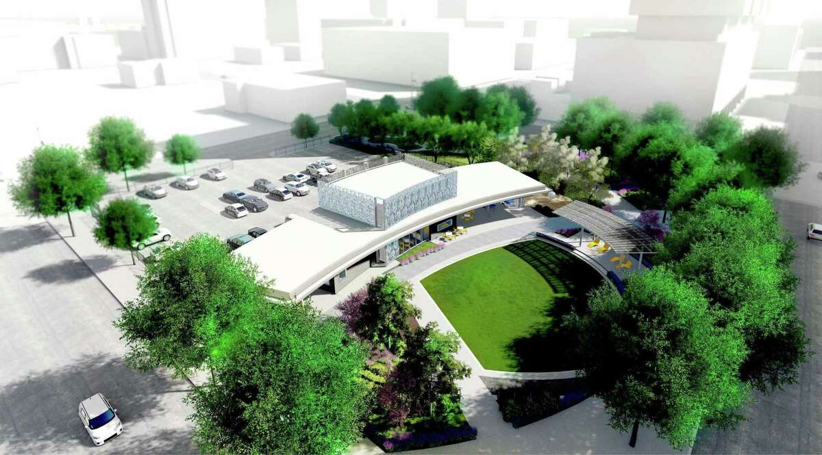 The new Southern Downtown Park designed by Lauren Griffith Associates with architecture by Gensler will include a fast-casual dining spot, flexible lawn space and bike trail connections.