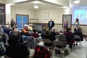 Residents gather for a recent program in the Bantam Borough Hall.