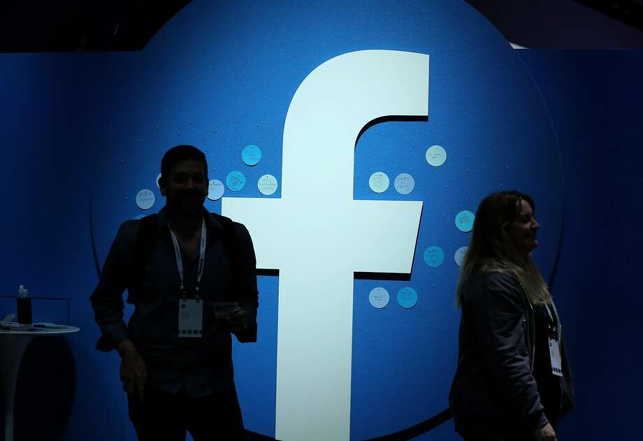 The Facebook logo is displayed during the F8 Facebook Developers conference on April 30, 2019 in San Jose, California.  Photo: Justin Sullivan, Getty Images