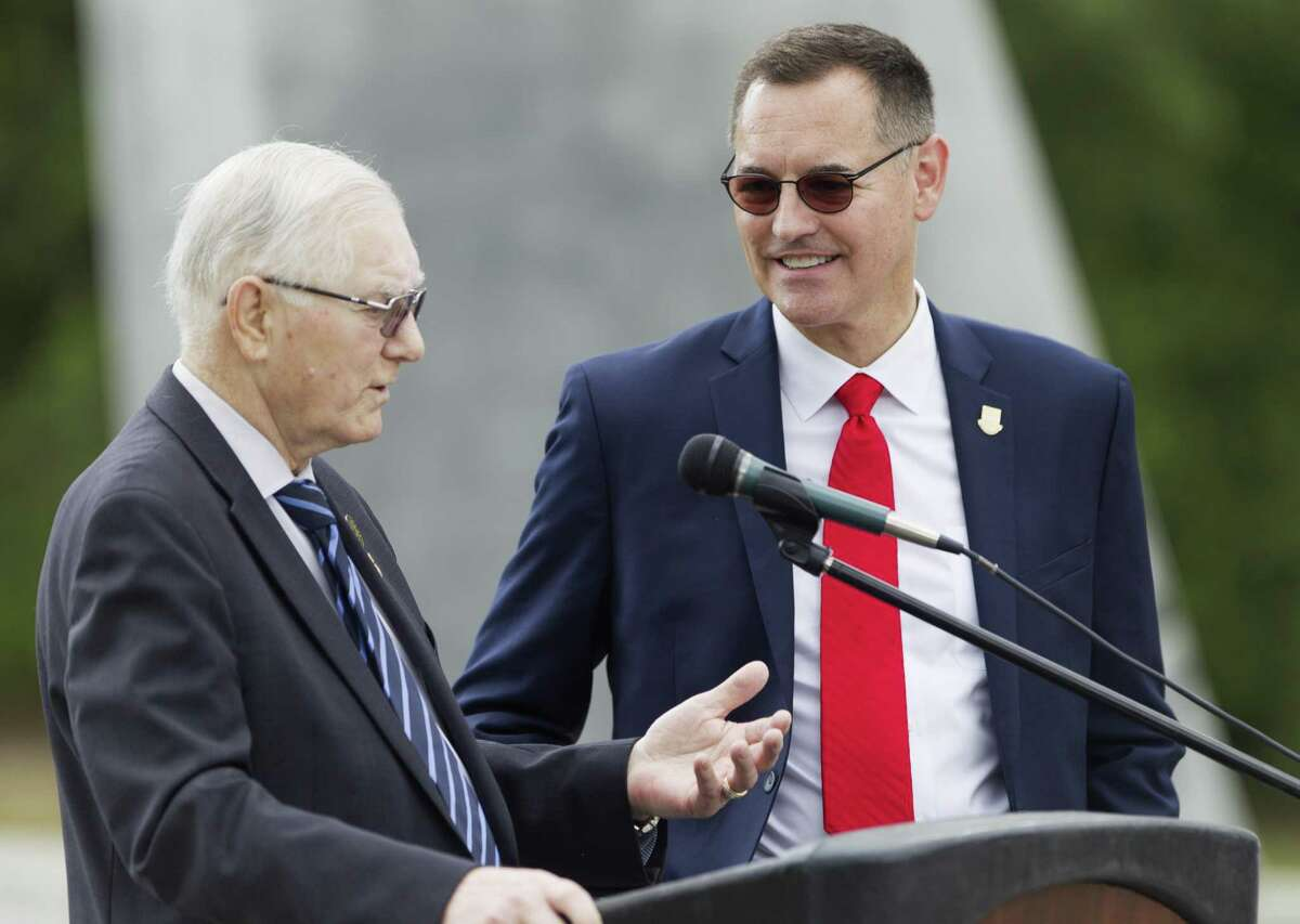 Conroe Mayor Toby Powell, left, speaks beside University of St. Thomas President Richard Ludwick during a press conference announcing future expansion plans for a satellite campus of University of St. Thomas in the 220-plus acre Deison Technology Park, Monday, April 29, 2019, in Conroe. The purposed Conroe location would be the third site for the Houston-based Catholic university, which has its main campus in the Montrose area and another campus for its St. Mary's Seminary, which houses the university's school of theology.