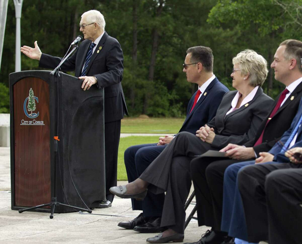 Conroe Mayor Toby Powell speaks during a press conference announcing future expansion plans for a satellite campus of University of St. Thomas in the 220-plus acre Deison Technology Park, Monday, April 29, 2019, in Conroe. The purposed Conroe location would be the third site for the Houston-based Catholic university, which has its main campus in the Montrose area and another campus for its St. Mary's Seminary, which houses the university's school of theology.